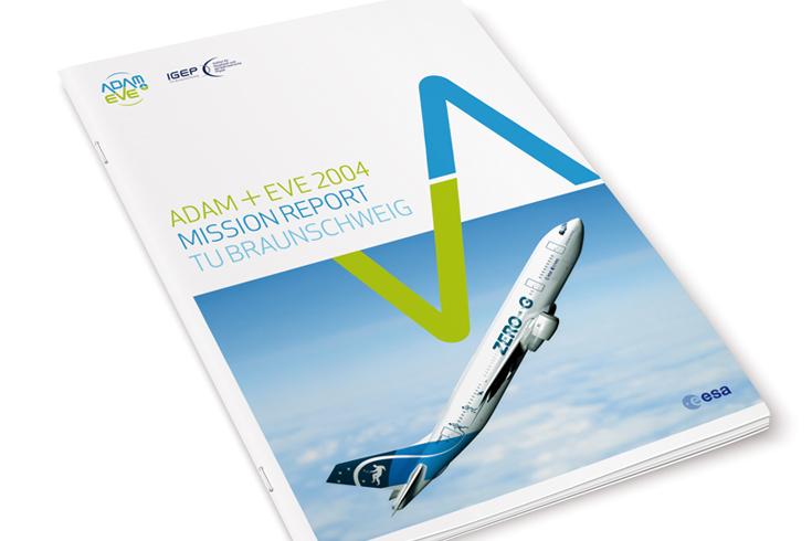 Umschlaggestaltung für einen Mission Report Adam & Eve der TU Braunschweig